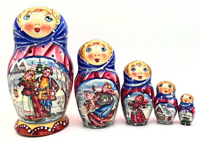 Матрешка Зимняя сказка, 5 мест.