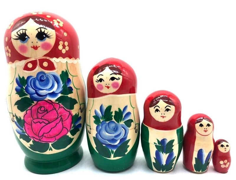 Матрешка Семеновская, зеленый сарафан, 17 см