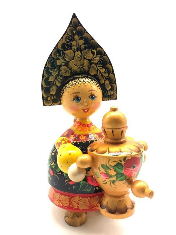 Кукла деревянная в кокошнике, с самоваром, 20 см