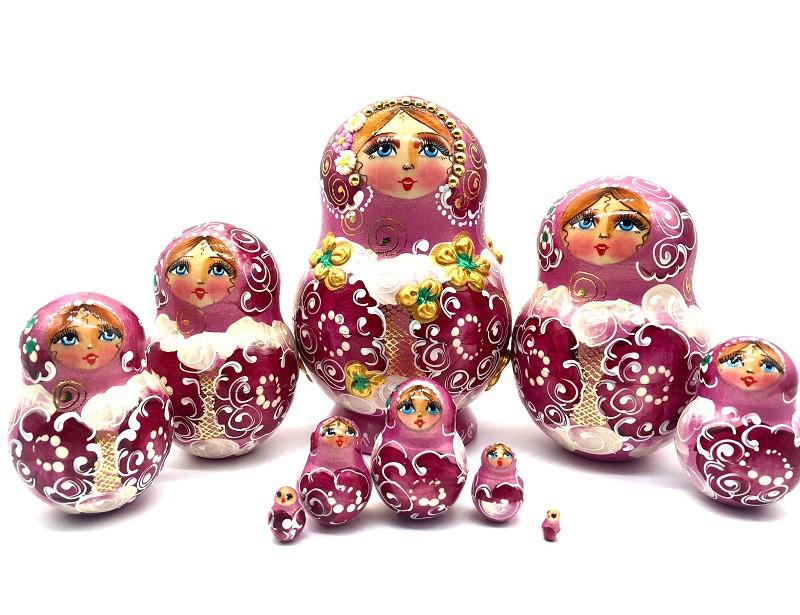 Матрешка розовая, 10 кукол