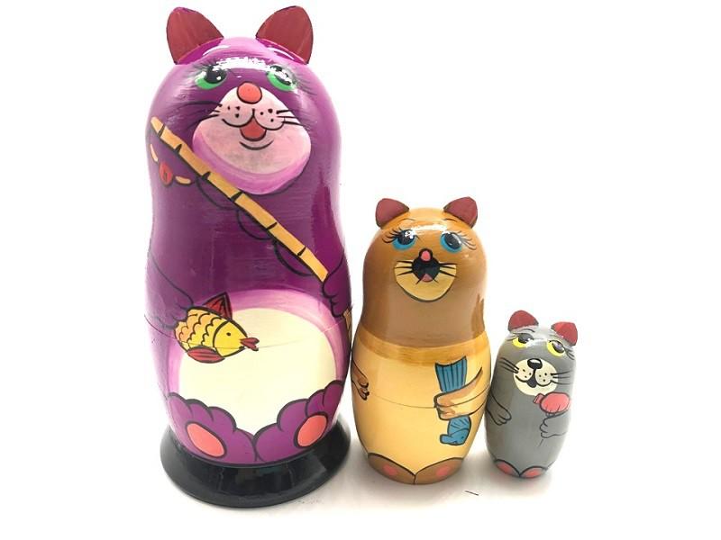 """Матрешка """"Коты"""", 16 см, 3 места"""