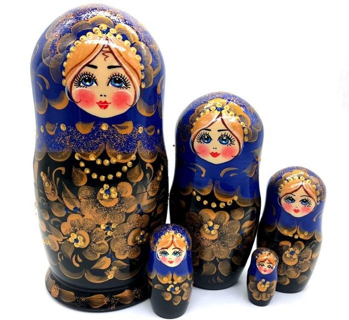 Русская матрешка синяя, 5 мест 18 см