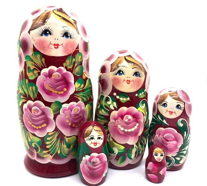 """Матрешка """"Розовые розы"""", 18 см"""