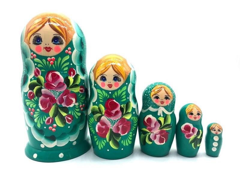 """Матрешка """"Цветы"""", зеленая, 5 мест"""