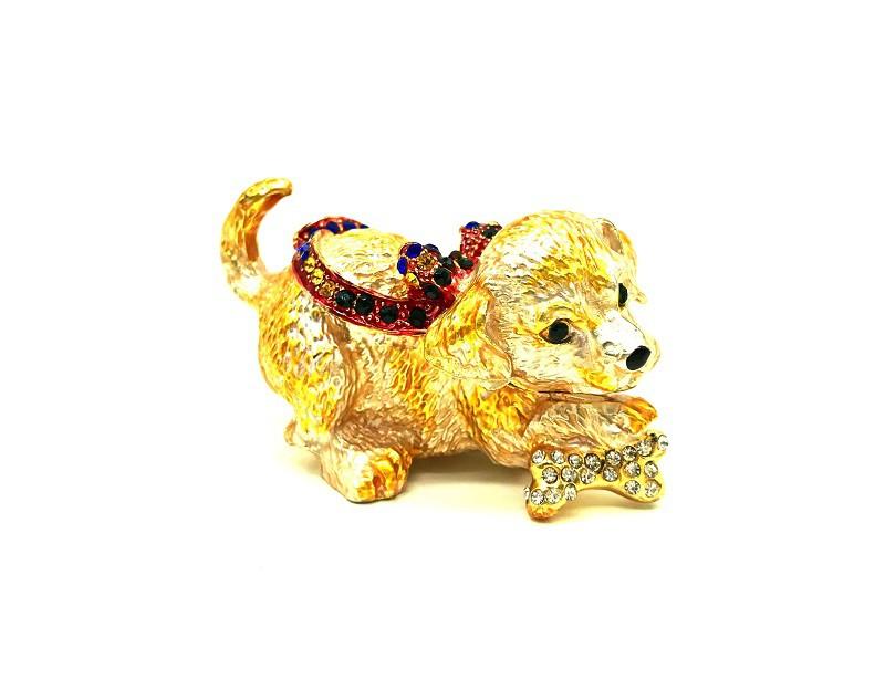 Собака Фаберже - шкатулка золотая, 5*8 см.