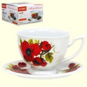 Чайная пара Чашка+блюдце Маки