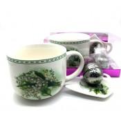 """Набор для чая """"Ландыши"""" чашка+ блюдце+ ситечко для чая"""