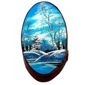 Картины на срезе березы, зима, 45 см
