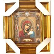 Икона Казанская 16*18 см, золотой конгрев с медальонами