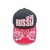 Бейсболка кепка Россия черная с узорами