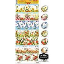 Пасхальные термоусадочные наклейки Цветы