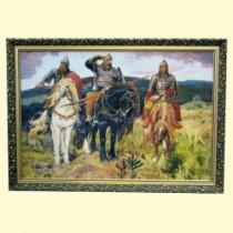"""Картина """"Три богатыря"""" 70x100 см, в деревянной рамке"""