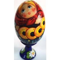 Яйцо деревянное, расписное на подставке