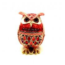 Сова - шкатулка Фаберже, красная, 6 см.