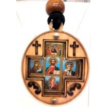 """Икона-подвеска в машину """"Крест с иконами"""""""