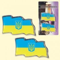 "Набор 3D наклеек на машину ""Украина"" 2 шт., 4,5х8,5 см"