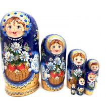 """Матрешка """"Ромашки"""", синий платок, 7 мест"""