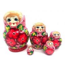 Матрешка красная с цветами, 5 мест