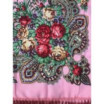 Платок с шелковой бахромой,розовый 90*90 см
