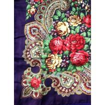 Платок с шелковой бахромой, фиолетовый 90*90 см