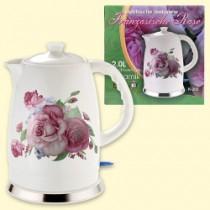 """Чайник керамический, электрический 2 л """"Розы"""""""