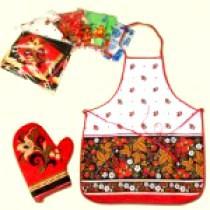 Кухонный набор, 2 части (Фартук+варежка), различные расцветки и мотивы, 100% хлопок