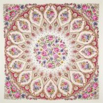 """Платок шерстяной с шелковой бахромой """"Снежинки и цветы"""", 146*146 см"""