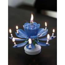 """Музыкальная свеча """"С днем Рождения"""",синяя"""