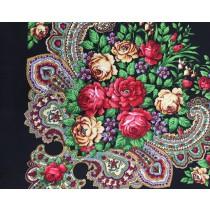 Платок с шелковой бахромой, черный 90*90 см