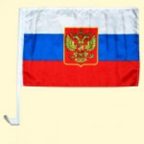 "Флаг на машину ""Россия"" 30х45 см,с гербом"