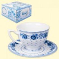 "Чайная пара, дизайн ""Гжель"",1 чашка 370 мл + 1 блюдце"