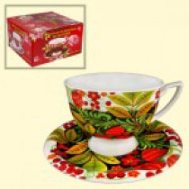 "Чайная пара, дизайн ""Хохлома"",1 чашка 370 мл + 1 блюдце"