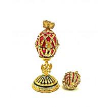 Яйцо Фаберже красное с кулоном короной, красного цвета, 6см, метал