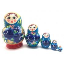 """Матрешка """"Сине-красная"""", 5 кукол, 13 см"""