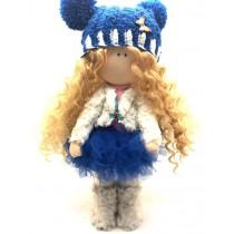 Кукла Тильда, бело-голубая, ручная работа