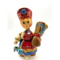 Кукла деревянная в кокошнике, с букетом цветов , 16 см