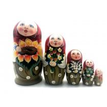 "Авторская матрешка ""Подсолнухи"", 5 кукол"