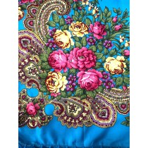 Платок с короткой бахромой, голубой 90*90 см