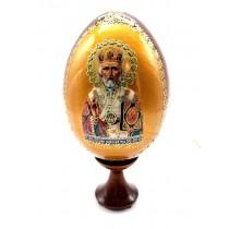 """Яйцо с иконкой """"Николай Чудотворец""""  на подставке, 13 см"""