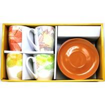 """Набор чайный """"Листья"""" 4 чашки+ 4 блюдца"""