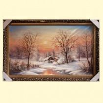 """Картина """"Дом в зимнем лесу у реки"""" 60x100 см, в деревянной рамке"""